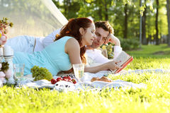 Romantic picnic. Love. Romantic picnic in the park Royalty Free Stock Photography