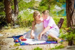 Romantic picnic. Of lovers on the bank of the lake Royalty Free Stock Photos