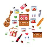 Romantic picnic set with a guitar vector illustration