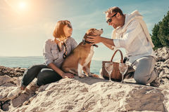 Romantic picnick on the sea side Royalty Free Stock Photos