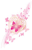 Romantic pink background. Big gold heart with many butterflies vector illustration