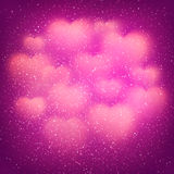 Romantic pink background with blurred hearts and dust elements. Vector illustration. Eps10. Valentines Day background with cloud of glowing blurred bokeh hearts Stock Image
