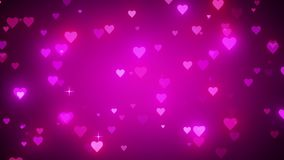 Romantic pink background with shiny hearts. Symbol of love. Valentine`s card. 3D animation stock video footage