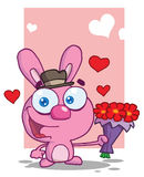 Romantic Pink Bunny Holding Out Flowers. Pink Bunny Holding Out Flowers royalty free illustration