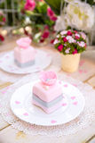 Romantic pink cake. With flower and pearl Stock Photography