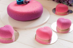 Romantic pink cakes in heart shape Stock Images