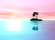 Romantic Pink Desert Island with Palm Tree Stock Images