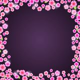 Romantic Pink Floral Frame on Dark Purple Background Stock Photos