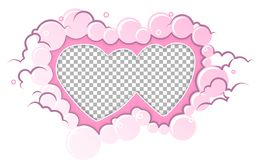 Romantic pink frame hearts template. Wedding card, valentine`s day greetings, lovely frame. Romantic pink frame hearts template. Vector illustration for love royalty free illustration