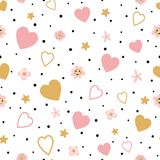 Romantic gold pink seamless floral love pattern kids baby fabric textile pajamas Valentinas day Wedding Love. Romantic pink gold floral seamless pattern with vector illustration