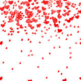 Romantic pink heart background. Vector illustration for holiday design. Many flying hearts on white pattern. For wedding Royalty Free Stock Photo