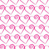 Romantic pink heart pattern. Vector illustration for holiday design. Many flying hearts on white background. Stock Photography
