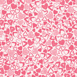Romantic pink hearts background, different hearts seamless patte Stock Image