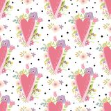 Romantic pink hearts pattern decorated cute flowers. Valentines Day love seamless background. Romantic pink hearts pattern decorated cute flowers. Valentines Day stock illustration