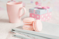 Romantic pink macarons Royalty Free Stock Image