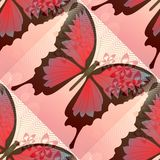 Romantic pink and red background with blended butterfly and small flower motif Royalty Free Stock Images