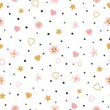 Romantic pink seamless floral love pattern kids baby apparel fabric textile sleepwear pajamas Valentinas day. Romantic pink floral seamless pattern with hearts vector illustration