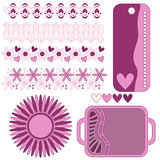 Romantic pink tag, trim and heart collection Royalty Free Stock Images