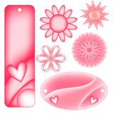 Romantic pink and white bookmarks or tags and flowers. Romantic pink and white bookmarks or tags with cute hearts and flowers Royalty Free Stock Photography