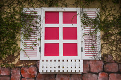 Romantic pink and white windows. Close up of a romantic pink and white windows on brick wall background Royalty Free Stock Photo