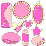 Romantic pink and yellow tags, labels, hearts and star Stock Photo