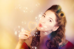 Romantic pinup girl. Retro summer party Stock Photography