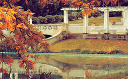 Romantic place. Fall time in Berlin, Charlottenburg park Royalty Free Stock Photography