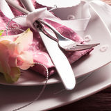 Romantic Place Setting with Rose and Pearl Hearts Stock Photo