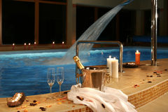 Romantic place at the swimming pool Stock Photo