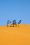 Romantic place to sit on the Sahara desert Stock Photo