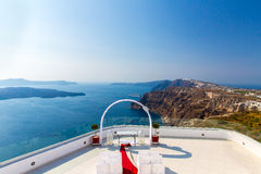 Romantic place for wedding ceremony in Santorini island,Crete,Greece Stock Photography