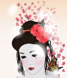 Romantic portrair of a geisha Royalty Free Stock Photos