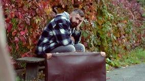 Romantic portrait of a bearded man. Autumn. Romantic and love. Romantic portrait of a bearded man. Autumn. Romantic and love stock footage