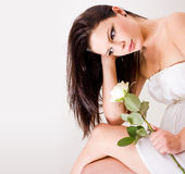 Romantic portrait of beautiful brunette woman. Stock Images