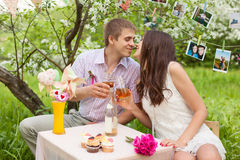Romantic portrait of a beautiful couple in love Royalty Free Stock Images