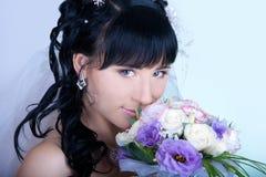 Romantic portrait of the bride's close-up Stock Image