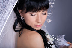 Romantic portrait of the bride's close-up Stock Photography