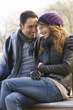 Romantic portrait couple outdoors in winter Royalty Free Stock Photography