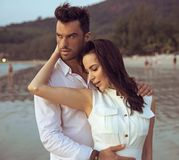 Romantic Portrait Of A Young, Attractive Couple Royalty Free Stock Images