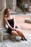 Romantic portrait of a pretty hispanic teenage girl stock photography