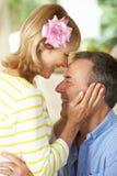 Romantic Portrait Of Senior Couple Indoors Stock Photos