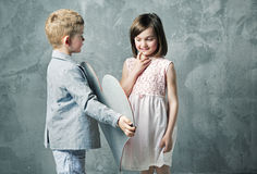 Romantic portrait of two little children Stock Image