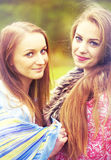 Romantic portrait of two pretty girls Stock Photography