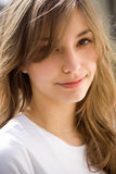 Romantic portrait of a young brunette. Royalty Free Stock Photography