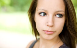 Romantic portrait of young brunette girl. Royalty Free Stock Images