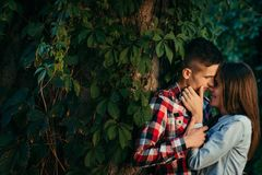 Romantic portrait of the young loving couple tenderly hugging. The girl is softly stroking the face of her boyfriend. Hear the wall covered with greenery Stock Photos