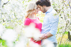 Romantic portrait of a young pair Stock Images