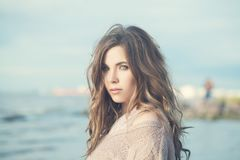 Romantic Portrait of Young Woman Outdoors. Cute Girl on a Coastline Stock Images