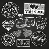 Romantic postage grunge stamp collection Stock Photography