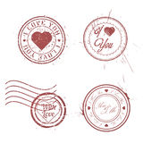 Romantic postage stamps collection Stock Photography